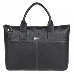 Стильная мужская деловая сумка из натуральной кожи, черного цвета от Franchesco Mariscotti, арт. AB21057