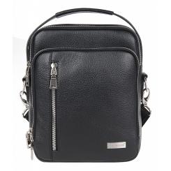 Маленькая мужская сумка из черной натуральной кожи с удобной ручкой от Franchesco Mariscotti, арт. AB21178