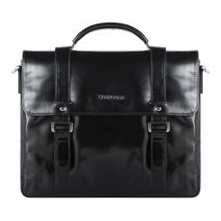Стильный мужской кожаный портфель черного цвета для документов и ноутбука от Franchesco Mariscotti, арт. AB22354