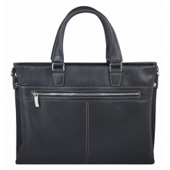Стильная мужская деловая сумка черного цвета, из натуральной кожи от Franchesco Mariscotti, арт. AB22621