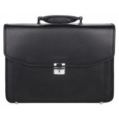Большой мужской портфель из натуральной кожи, черного цвета от Franchesco Mariscotti, арт. AB23068