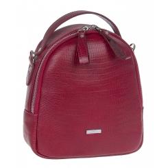 Городской женский кожаный рюкзак гранатового цвета, с тиснением под рептилию от Franchesco Mariscotti, арт. AB23306