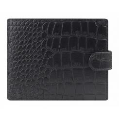 Кожаное мужское портмоне, черного цвета, тисненное под крокодила от Franchesco Mariscotti, арт. AB23345
