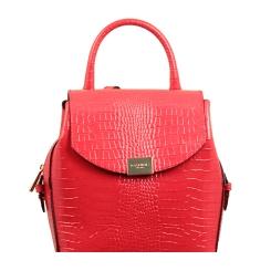 Женский рюкзак из натуральной кожи красного цвета с красивым тиснением от Gaude, арт. р3601гм