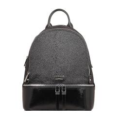 Черный женский кожаный рюкзак с интересной зернистой фактурой от Gaude, арт. н6801гм