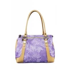 Сиреневая женская сумка из натуральной кожи с узором и бежевыми вставками от Gaude, арт. SSG1400 viola