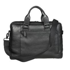 Практичная мужская деловая кожаная сумка, выполненная в черном цвете от Gianni Conti, арт. 1811341 black