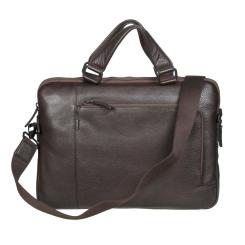 Вместительная мужская деловая сумка из качественной натуральной кожи от Gianni Conti, арт. 1811341 dark brown