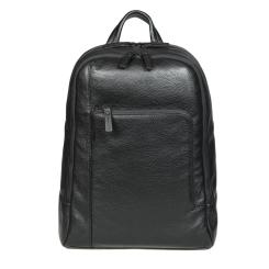 Практичный мужской кожаный рюкзак с двумя отделами, модель черного цвета от Gianni Conti, арт. 1812288 black
