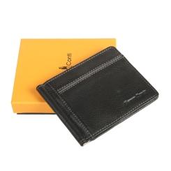 Удобный кожаный зажим для денег с карманом снаружи, модель черного цвета от Gianni Conti, арт. 1817466 black
