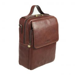 Стильная маленькая деловая мужская сумка из коричневой натуральной кожи от Gianni Conti, арт. 912306 dark brown