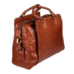 Удобная мужская дорожная сумка из натуральной коричневой кожи от Gianni Conti, арт. 913575 tan