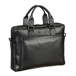 Деловая мужская сумка из натуральной кожи, черного цвета, для ноутбука и документов от Gianni Conti, арт. 1501370 black