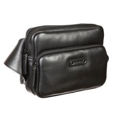 Кожаная поясная мужская сумка, черного цвета, с одним отделением на молнии от Gianni Conti, арт. 1505162 black