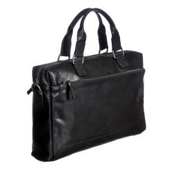 Черная деловая мужская сумка из натуральной кожи, для документов и ноутбука от Gianni Conti, арт. 4111374 black