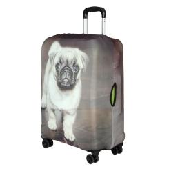 Защитное покрытие для большого чемодана, серого цвета, с изображением мопса от Gianni Conti, арт. 9053 L