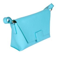 Ярко-голубая женская сумка из плотной натуральной кожи от Gianni Conti, арт. 2514903 turquoise
