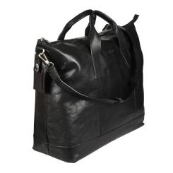 Дорожная сумка из натуральной кожи с большим отделом и секцией под ноутбук от Gianni Conti, арт. 912074 black