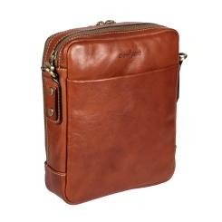 Мужская маленькая кожаная сумка через плечо с двумя отделами на молнии от Gianni Conti, арт. 912312 tan