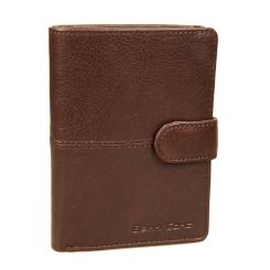 Вертикальное мужское кожаное портмоне с обложкой и узким клапаном на кнопке от Gianni Conti, арт. 1138451E dark brown