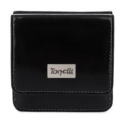 Модный женский кожаный кошелек черного цвета с элегантным тиснением от Gilda Tonelli, арт. п3048