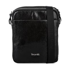 Модная мужская сумка черного цвета из натуральной кожи с тиснением под рептилию от Gilda Tonelli, арт. м2114