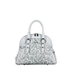Элегантная женская сумка белого цвета с рисунком, выполненным в серых тонах от Gilda Tonelli, арт. SSGT1498 bianco