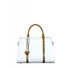 Белая женская сумка с тонкими полосами глянцевой кожи и ручками в тон от Gilda Tonelli, арт. SSGT1653