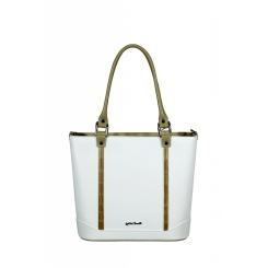 Белая кожаная женская сумка со вставками, имитирующими бамбук от Gilda Tonelli, арт. SSGT5620