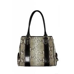 Женская кожаная сумка с черными вставками и поверхностью с имитацией кожи змеи от Gilda Tonelli, арт. SSGT6210 beige tm