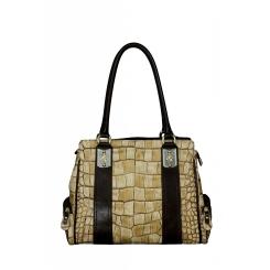 Женская стильная сумка с выделкой под кожу крокодила от Gilda Tonelli, арт. SSGT6210 camel
