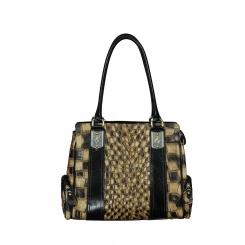 Женская кожаная сумка с двумя боковыми кармашками на молнии от Gilda Tonelli, арт. SSGT6210 cuoiol