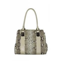 Оригинальная женская кожаная сумка со светлыми вставками и имитацией кожи змеи от Gilda Tonelli, арт. SSGT6210 st.beige