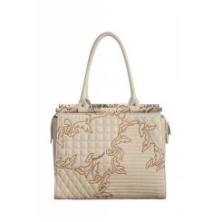 Стильная женская сумка с оригинальным тиснением и нежной вышивкой от Gilda Tonelli, арт. SSGT6219vk