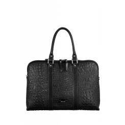 Классическая женская сумка с объемным тиснением под кожу рептилии от Gilda Tonelli, арт. SSGT6641 nero