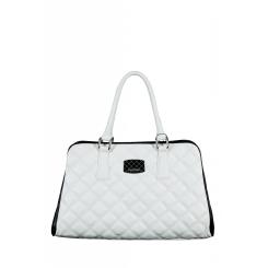 Классическая белая сумка с черными боковыми вставками от Gilda Tonelli, арт. SSGT7358