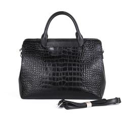 Стильная женская сумка из черной натуральной кожи с тиснением от Giorgio Ferretti, арт. 2018300 black/crocodile/b