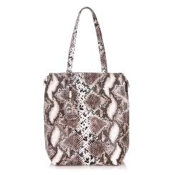 Красивая женская двойная сумка из натуральной кожи с тиснением от Giorgio Ferretti, арт. 32433 13 coffee GF