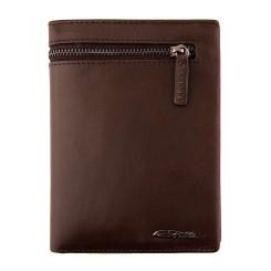 Кожаное мужское портмоне, коричневого цвета, с отделами для купюр и монет от Giorgio Ferretti, арт. 0093 D2 coffee