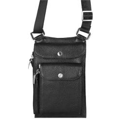 Нагрудный кошелек из натуральной кожи с большим внешним карманом от Giorgio Ferretti, арт. 064 008 black GF