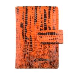 Стильная визитница из тисненной натуральной кожи, оранжевого цвета от Giorgio Ferretti, арт. 00023-A479 orange GF