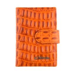 Стильная визитница из оранжевой натуральной кожи с тиснением от Giorgio Ferretti, арт. 00023-A492 orange GF
