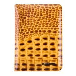 Роскошная яркая обложка из натуральной кожи с эффектной фактурой от Giorgio Ferretti, арт. 00019-64 camel GF
