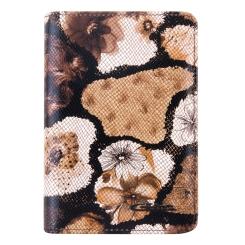 Стильная кожаная обложка для документов с цветочным принтом от Giorgio Ferretti, арт. 00019-A30 coffee GF