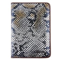 Стильная кожаная обложка для документов с выделкой под змею от Giorgio Ferretti, арт. 00019-A330 grey/black GF