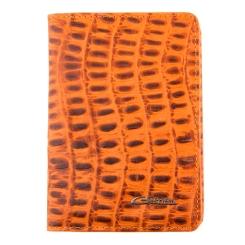 Кожаная обложка для документов, украшенная тиснением под рептилию от Giorgio Ferretti, арт. 00019-A492 orange GF