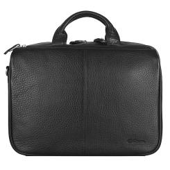 Удобный мужской портфель черного цвета, из натуральной кожи от Giorgio Ferretti, арт. 042 018 black GF