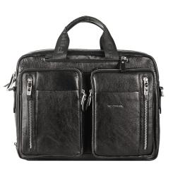 Мужская кожаная деловая сумка с двумя отделами для документов от Giorgio Ferretti, арт. 147 012 nero GF