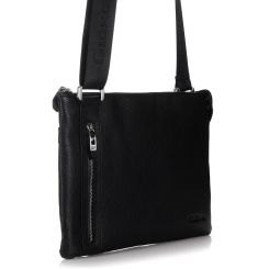 Практичная мужская кожаная сумка через плечо с одним узким отделом от Giorgio Ferretti, арт. 3482 008 black GF