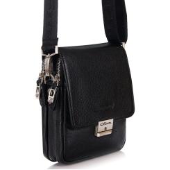 Черная маленькая мужская сумка из натуральной гладкой кожи с замком на ключ от Giorgio Ferretti, арт. 568-5 32 nero GF